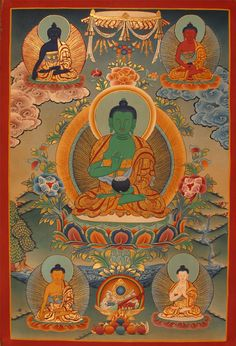 The green buddha, Amoghasiddhi, is here seated at the centre of the mandala (this is normally the position of Vairocana or Aksobhya). He is the Buddha of the North.