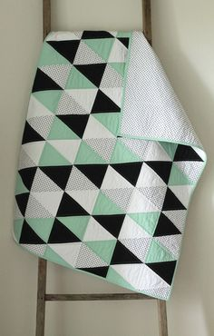 mint and licorice :: a baby quilt.