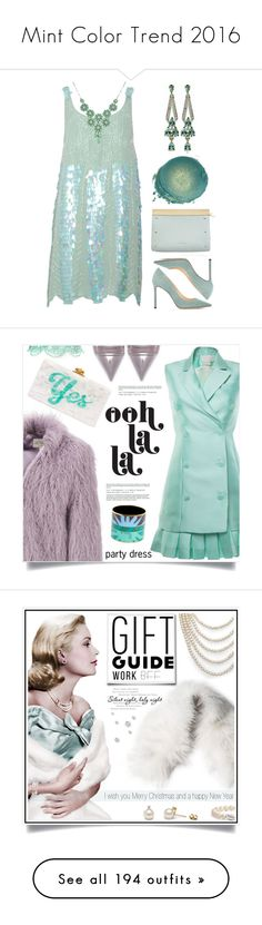 """""""Mint Color Trend 2016"""" by yours-styling-best-friend ❤ liked on Polyvore featuring LUCY IN DISGUISE, Jimmy Choo, Loewe, Luis Miguel Howard, partydress, splurgegifts, Antonio Berardi, Givenchy, Hermès and Edie Parker"""