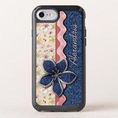 Custom Hip Denim Jeans Cute Pastel Floral Pattern Speck iPhone Case - summer gifts season diy template ideas