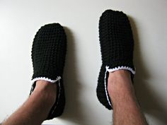 Crochet Slippers Men Loafers Black and White by UnaCreations