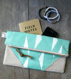 Mint Triangles Organic Canvas Clutch by Frankie and Coco PDX