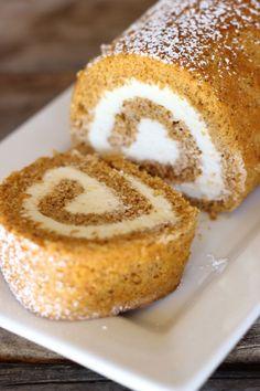 Pumpkin Roll With Maple Cream Cheese Filling. pumpkin recipes, pumpkin desserts