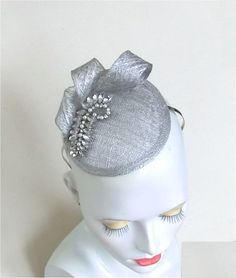 Silver sinamay and diamonte fascinator headpiece cocktail hat