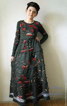 Платья ручной работы. Ярмарка Мастеров - ручная работа. Купить Платье Московские снегири. Handmade. Тёмно-серый, алена барабулька