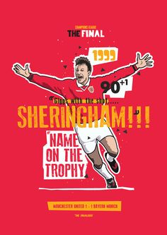 Teddy Sheringham 1999 The Equaliser by KieranCarrollDesign Manchester United Wallpaper, Old Logo, Manchester United Football, Man United, Champions League, Theatre, Religion, Typography, Bayern