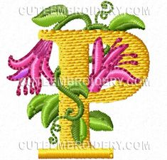 Pretty Flowers Font - Cute Alphabets - Embroidery Fonts