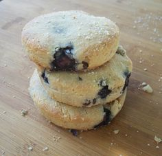 Almond Flour Blueberry and Lemon Zest Biscuits: 2-1/2 cups almond flour, plus 1/2 cup as bench flour; 1/2  tsp salt; 1/2  tsp baking soda; 1/4 cup coconut oil; 2 eggs; 1-2  tbsp  honey; 1/4 cup of fresh blueberries; Zest of one lemon  #paleo