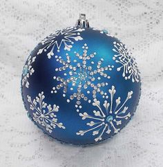 Rich Blue 3D White Snowflakes MUD Ornament L by MargotTheMUDLady
