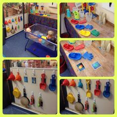 Sand and water free choice equipment. Classroom Layout, Toddler Classroom, Classroom Organisation, Outdoor Classroom, Classroom Design, Preschool Classroom, Classroom Activities, Classroom Management, Classroom Ideas