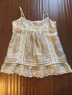BCBG Maxazria Medium Top Sexy Summer Beige Gold Cream Lace Smocked Back Mesh