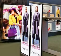There are major benefits for digital signs over traditional static signs, including the ability to update content remotely over the web, adapt the screens to your viewers and even interact with your local audience. Company Signage, Poster Display, Video Wall, Retail Stores, Digital Signage, Video Image, Store Fronts, Trade Show, Doorway
