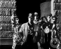 Photo of legendary hip hop group, Public Enemy, taken by Ricky Powell in New York City in 1987.