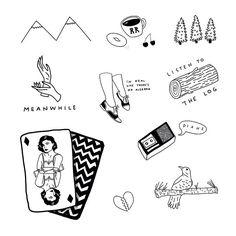 Twin Peaks tattoo sheet