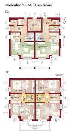 Doppelhaush lfte grundriss schmal mit pultdach architektur for Zweifamilienhaus modern grundriss