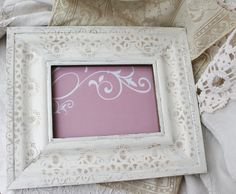 Decorative Frame, Hand Painted Lace Ornate Frame, Shabby Chic Decor, Cottage Chic Decor, Rustic Farmhouse