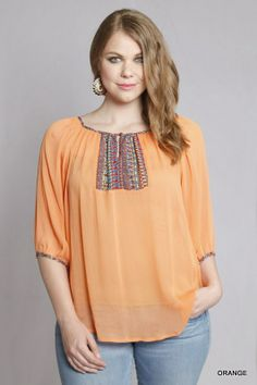 Kelly Brett Boutique | Women's Online Clothing Boutique - Plus Size Top Embellished Orange, $29.95 (http://www.kellybrettboutique.com/plus-size-top-embellished-orange/)