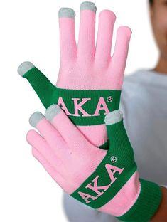 Aka Sorority Gifts, Alpha Kappa Alpha Sorority, Sorority And Fraternity, Aka Apparel, Alpha Kappa Alpha Paraphernalia, Aka Paraphernalia, Black Fraternities, Green Gloves, Texting Gloves