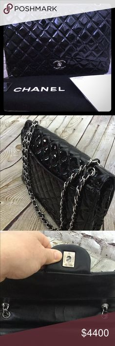 92799ab4c9b4 Chanel Classic Maxi Double flap handbag Wonderful pre-loved condition.  Chanel patent leather with