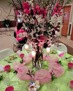 A Cherry Blossom themed Women's Ministry dinner with ideas to get more people involved. Event Themes, Event Decor, Womens Ministry Events, Centerpieces, Table Decorations, Centerpiece Ideas, Cherry Blossom Centerpiece, Seasonal Celebration, Welcome Table