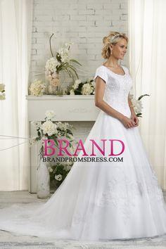 2016 Capela Trem colher mangas curtas tule com bordado e miçangas vestidos de casamento