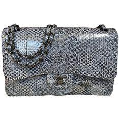 fafa0c54b9dc Chanel Tote Bag - Limited Double Flap Bag Jumbo Python Leather Shoulder Bag 2016  Leather
