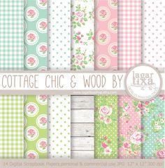 Digital Paper Cottage Chic Romantic Sweet Vintage by LagartixaShop, $4.00