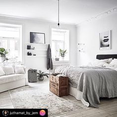 """This post was reposted using @the.instasave.app  #theinstasaveapp ・・・ """"• B e d r o o m  I n s p o • • • • My type of bedroom. Just looks effortless, lived in, comfy, spacious and bright! Just perfect👌🏻 • • Picture: @entrancemakleri  Reposted from: @immyandindi  Styling: @annafurbacken  Photo: @fotografanders • • • #wesnesday #today #inspiration #love #beautiful #bedroom #bed #bedroominspo #apartment #loft #dorm #dream_interiors #homeinspo #homedecor #interiordesign #interior4all…"""