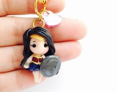 Wonder Woman DC comics Batman v vs Superman Gal Gaddot Polymer Clay Keychain Necklace dawn of justice by MintFoxBoutique on Etsy Cute Polymer Clay, Cute Clay, Fimo Clay, Polymer Clay Projects, Polymer Clay Charms, Polymer Clay Creations, Polymer Clay Jewelry, Clay Crafts, Gumball