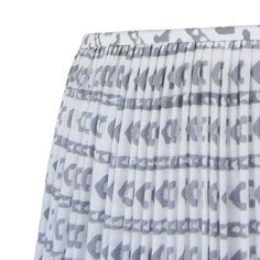 Small Gathered Lamp Shade, Gray and Ivory Block Print Fabric