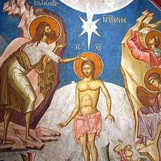Forefeast of the Theophany of our Lord and Savior Jesus Christ Epiphany Of The Lord, Orthodox Calendar, St Basil's, John The Baptist, Lord And Savior, Holy Spirit, Jesus Christ, Art Drawings, Painting