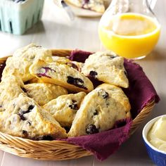 Blueberry Scones Recipe -Here's my secret for serving guests a warm treat. Just pop a frozen scone in the microwave for 20 seconds or so. —Joan Francis, Spring Lake, New Jersey
