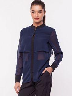 OLIV Semi Sheer Layered Shirt available on koovs