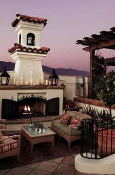 Curl up with a glass of California red by the fireplace on the hotel's rooftop terrace.