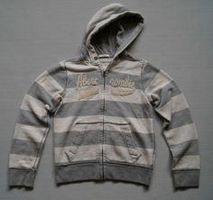 Abercrombie & Fitch Kids Hoodie Size L Hoody Jumper Top Grey White Stripes