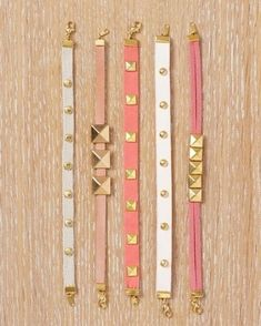 DIY bracelets ideas: very girlie & feminine - ideal for summer & spring - studded leather bracelets in golden & hot pink or white #leather #girlie #bracelets #chic #studded #lovely #diyideas