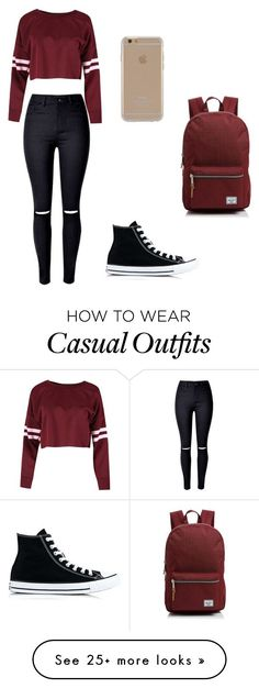 """Casual Back To School"" by williamsm6086 on Polyvore featuring Converse, Herschel Supply Co. and Agent 18"