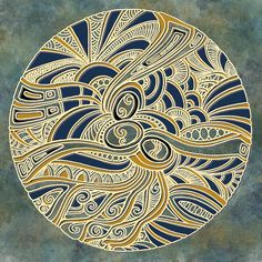 Round Tangle -  Navy Blue, Grey and Golden Yellow - Genevieve Crabe                                                                                                                                                                                 More