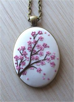 Cherry Blossom Necklace, Christmas Gift for Her, Sakura Necklace, Boho Jewelry, Anniversary Gift for Wife  FEDEX prioirty shipping takes: 2-3 WORKDAYS !!! !!! !!! ( average ).  This is a rustic, vintage style, handmade, polymer clay pendant with Cherry Blossoms motifs. This beautiful vintage style necklace is a piece of original and unique artwork.   The method is known as appliqued technique. Using tiny pieces of clays and a sharp needle. My jewelry are not made by using molds. Each…