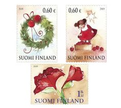 Finland stamps: Christmas is Near: A Pair, and Amaryllis designed by Minna Immonen