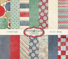 A Mixed Bag Digital Paper Pack-14 by Captured and Created on @creativemarket
