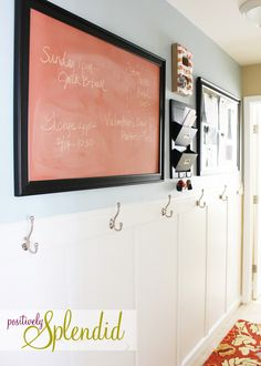 if I can't have a muck room, I can turn a hallway into a faux-muck room! Such a good idea.