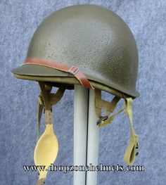 WWII M2 D-bale Airborne Helmet and Hawley Paratrooper Liner FRONT SEAM (Unissued) Dbale by Dropzone Helmet Restorations Co.