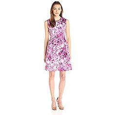Lark & Ro Women's Sleeveless Floral Printed Fit and Flare Dress, Bright Pink, 6 Hourglass Dress, Dresses For Work, Summer Dresses, Bright Pink, Fit And Flare, Pink Dress, What To Wear, Floral Prints, Prom