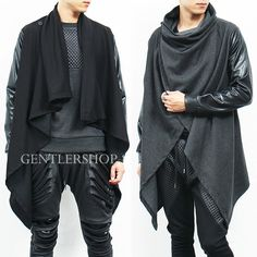 Take advantage of the endless options from a shawl cardigan that will ultimately give anyone a lasting look that is worthy of any praise. Dystopian Fashion, Cyberpunk Fashion, Dark Fashion, Boy Fashion, Mens Fashion, Unisex Looks, Poncho Outfit, Greek Clothing, Men's Clothing