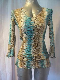 Sz S ALBERTO MAKALI Brown Aqua Print 3/4 Sleeve Tunic Top - Cute - Misses Unique   eBay