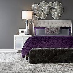 Purple and Grey Bedroom. Purple and Grey Bedroom. Purple and Grey Bedroom Makeover for My First Interior Purple Bedroom Design, Silver Bedroom Decor, Glam Bedroom, Decoration Bedroom, Bedroom Colors, Home Decor Bedroom, Purple Master Bedroom, Bedroom Ideas Purple, Bedroom Wall