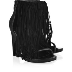 Alexander Wang Dree fringed leather sandals (€185) ❤ liked on Polyvore featuring shoes, sandals, heels, black, boots, high heel platform sandals, leather sandals, leather platform sandals, black platform sandals and black sandals