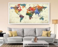 World map push pin, World map with countries art print, Push pin travel world map wall art print, push pin map extra large wall art ------------------------------------------------------------------------------------------------ Available sizes are shown in the SELECT A SIZE drop down