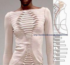 Detalhes de modelação de camisa, vestido e blusa
